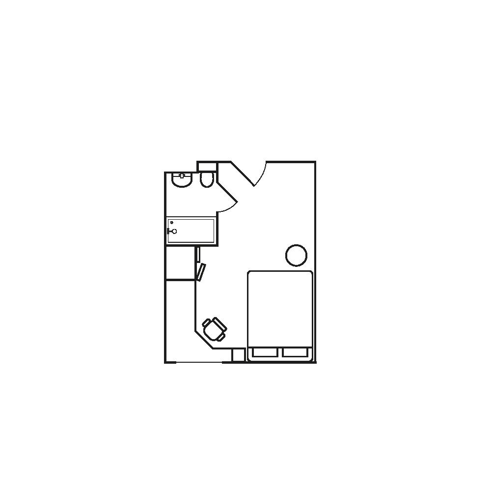Standard student accommodation bedroom floor plan Birmingham, Cadnam Hall